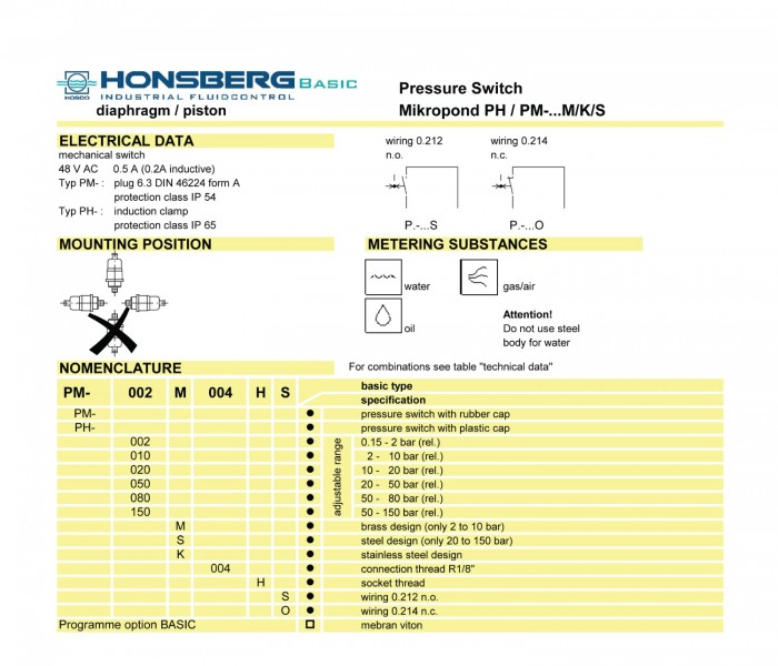 Honsberg Pressure Switch